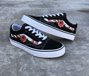 93a972d95d5eae Old Skool Black Peach Rose Embroidery Vans Style Custom Trainers ...