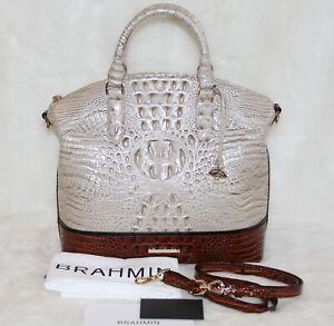 Brahmin-Large-Duxbury-Melbourne-Satchel-Bag-Handbag-Beige-Osmia-Pecan-Purse-NWT
