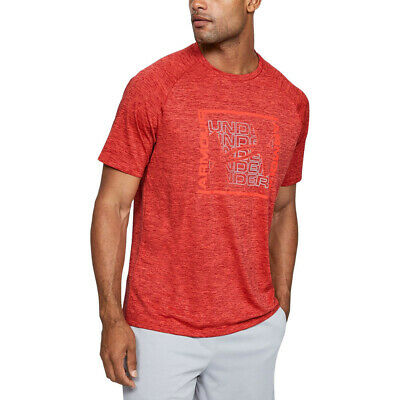 Under Armour Homme Tech Graphic T Shirt Tee Top Rouge Sport Running Respirant