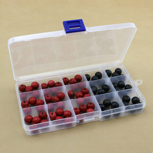Clear 10//15//24 Slots Adjustable Jewelry Storage Box Case Craft Organizer Beads