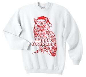 Happy-owlidays-Natale-Maglione-Maglione-Felpa-Divertente-brutto-GUFO-Vacanze-Retro