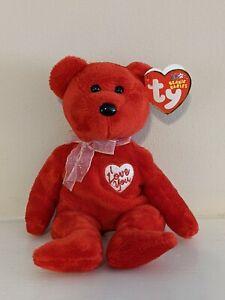 TY Beanie Baby Secret Red I Love You Bear 1-19-2003 MWMT Valentine's Gift