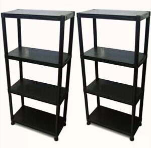 Image Is Loading 4 TIER X 2 BLACK RACKING SHELVING SHELVES