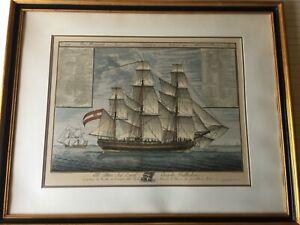 Antique-Giacomo-Tagliagambe-Sailing-Ship-Etching-Print-Framed-26-034-x-20-034-Image