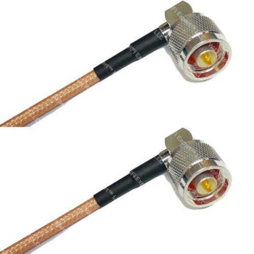 RG142 Silver N MALE ANGLE to N MALE ANGLE Coax RF Cable USA Lot
