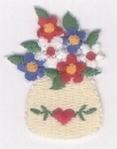 Tulip Flower Bouquet in Vase Embroidery Patch Applique