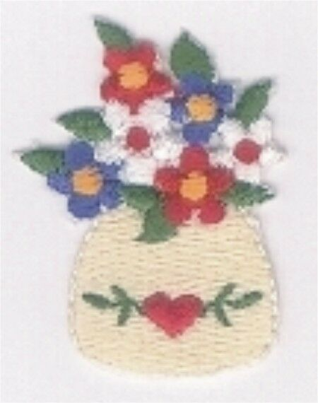 Pink Fuchsia Flower in Blue White Vase Embroidery Patch