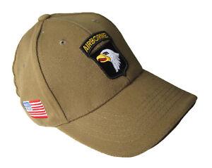 b57056484b4 Khaki US 101st Airborne Baseball Cap - Peak Sun Hat Screaming Eagles ...