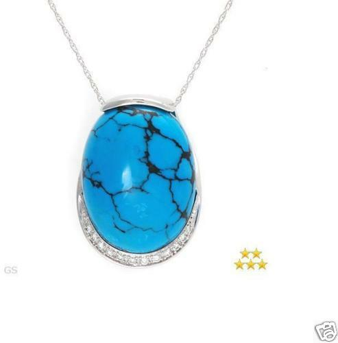 CERTIFIED 21x16 Turquoise & Diamond Accent 14K White gold Pendant w chain