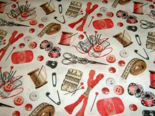 A Clés dans Time coudre Sew fil fils aiguilles ciseaux 50x110 cm Coton