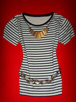 H&M SHIRT RocKaBilly BOHO MARITIM MARINE STREIFEN S 36 38 NEUW.!!! TOP !!!
