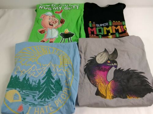 Wholesale Bulk Lot of 75 Graphic Novelty Printed T-Shirts Assorted Size /& Styles