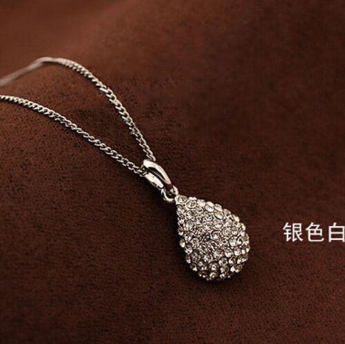 Moda Joyería Colgante de bola de cristal declaración cadena collar Gargantilla Oro Plata