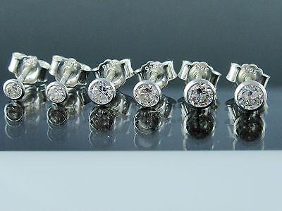 Set 3 Paar Ohrstecker 925 Sterling Silber 2,5+3+3,5mm Zirkonia Ohrringe Unisex