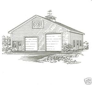 36 x 40 two bay fg rv garage building blueprint plans ebay image is loading 36 x 40 two bay fg rv garage malvernweather Choice Image