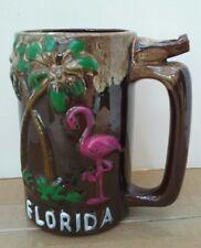 Vintage Florida Souvenir Whistle Mug, Made Japan, Pink Flamingo, Palms, WORKS