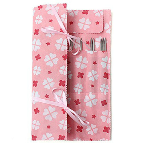 Pink Knitting Needle Crochet Hook Organizer Bag Pouch Holder Box Case M9L7