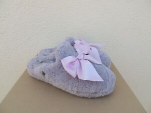 91f6f6e8a64 Details about UGG ADDISON LAVENDER FOG CURLY SHEEPSKIN SILKY BOW SLIPPERS,  US 7/ EUR 38 ~NIB