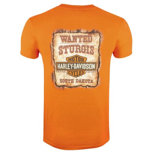 Harley Davidson HD Mens Sturgis South Dakota Wanted Poster Orange T-Shirt