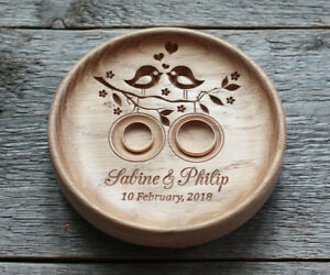 Wood-Wedding-ring-bearer-box-alternative-Wedding-ring-pillow-holder-dish-plate