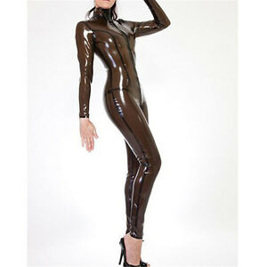 495cc9584a Image is loading Transparent-Black-Latex-Tights-Catsuit-Rubber-Skintight- Bodysuit-