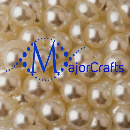 400pcs Cream Ivory 6mm Flat Back Half Round Resin Pearls Nail Art Gems C14