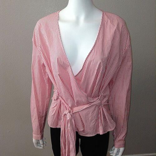 A New Day Wrap Shirt Size XXL Womens Blouse Pink Stripe Long Sleeve Top