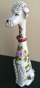 Statua-ceramica-vintage-1950-1960-cane-barboncino-decoro-fiori-foglie-alta-38-cm