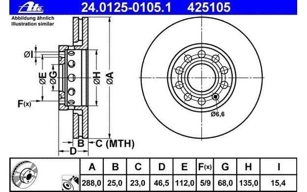ATE Juego de 2 discos freno Antes 288mm ventilado para SEAT EXEO AUDI