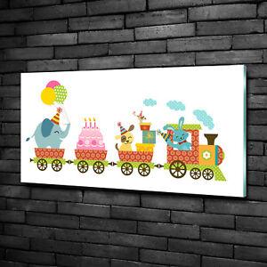 Wandbild-Glas-Bild-Druck-auf-Glas-100x50-Deko-Kinderzimmer-Froehlicher-Zug