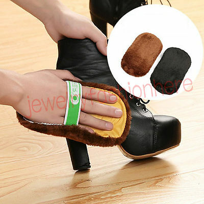 New Soft Faux Wool Cloth Shoes Polishing Cleaning Clean Glove Brush Shoe Care HG
