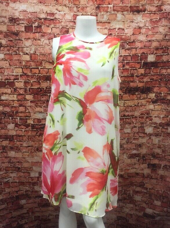 Jessica Howard Pink Ivory Green Floral Shift Dress Size 14W