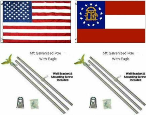 3x5 USA American /& State of Georgia Flag Galvanized Pole Kit Top 3/'x5/'