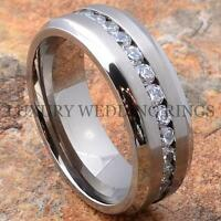 Titanium Wedding Band Engagement Diamond Ring Size 6-13