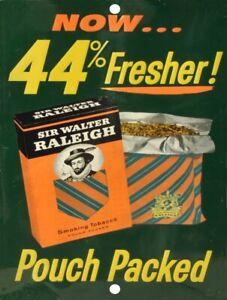 SIR-WALTER-RALEIGH-Tobacco-Vintage-Metal-Aluminum-Tin-Sign-9-034-x-12-034