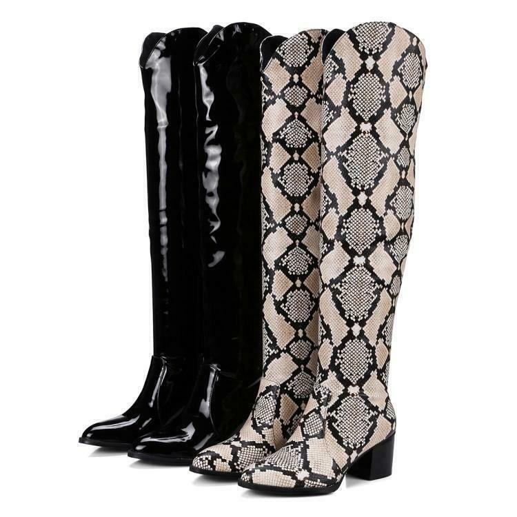 Riding Womens Snakeskin Knee High Boots Pull On Low Heel Cowboy shoes Leather H1