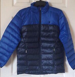 72cc141205e4  145 NWT Boys Polo Ralph Lauren Blue Navy Color-Block Puffer Down ...