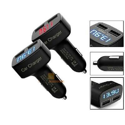 4 in 1 3.1A Dual USB Car Charger Adapter Voltmeter Red Celsius