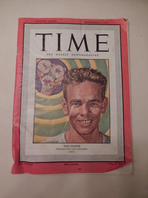 TIME Magazine - September 1 1947 - Jake Kramer Tennis Cover