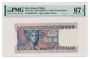 ITALY banknote 50.000 Lire 1980 PMG MS 67 EPQ Superb Gem Uncirculated