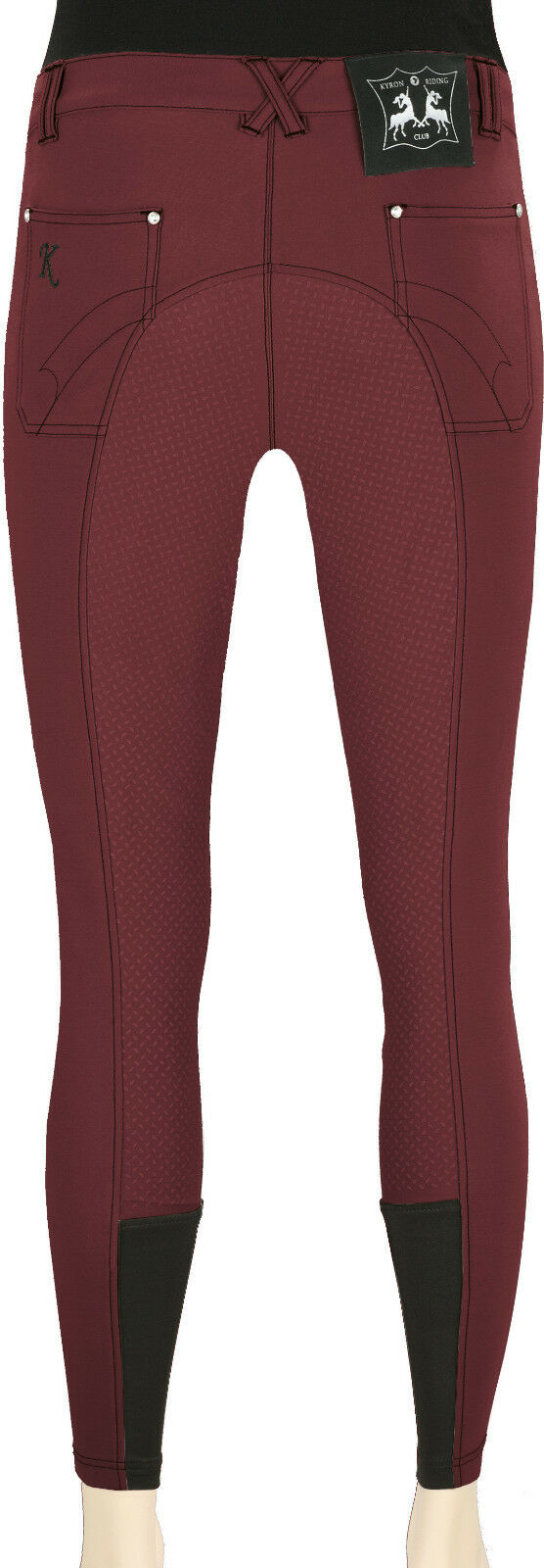 KYRON Women Equestrian Pants Soft Grip, Full Seat, Berry Size 34-84