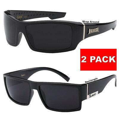 Rectangular Gangster Black Shades Mens Designer Sunglasses Cholo Dark Lens Biker