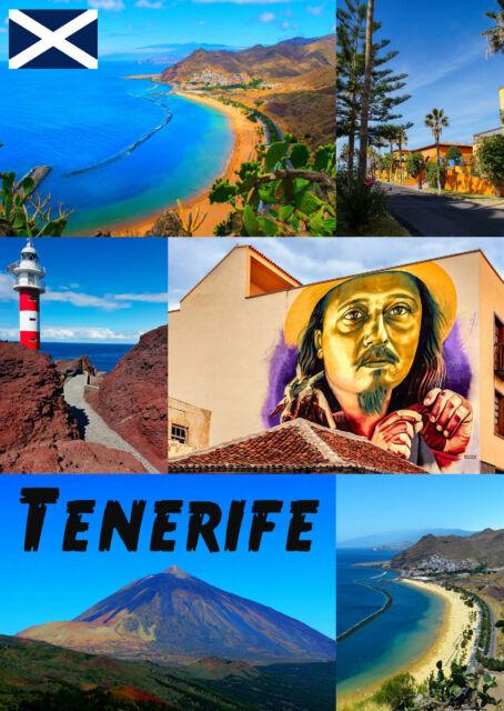 Tenerife - Recuerdo Original Imán de Nevera - Monumentos/ Bandera/ Nuevo
