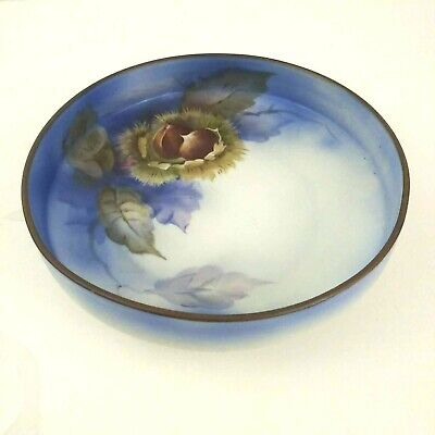 Noritake Hand Painted Footed Blue Chestnut Japan Candy Dish Ebay