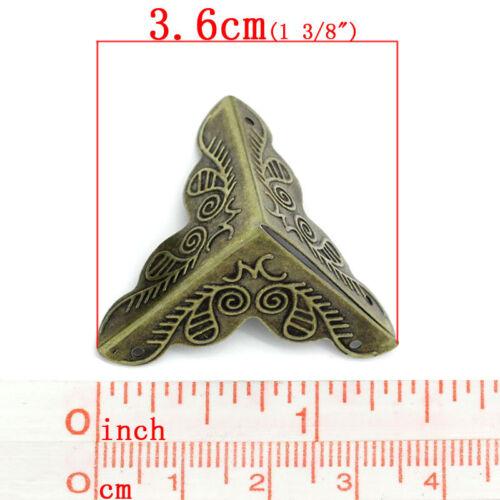 Boîte pied de coin bronze antique motif fleur Boîte à bijoux sculpté 3.6 x1.9 cm x4