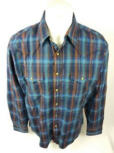 Wrangler-Retro-Mens-Western-Pearl-Snap-plaid-Shirt-Blue-Brown