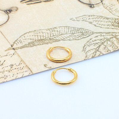 18K Gold Filled Men/Women Hoop Sleeper Earrings 10 mm Hinged