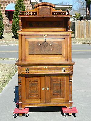 Michell & Rammelsburg Walnut Victorian Secretary Drop Front Witing Desk  SIGNED