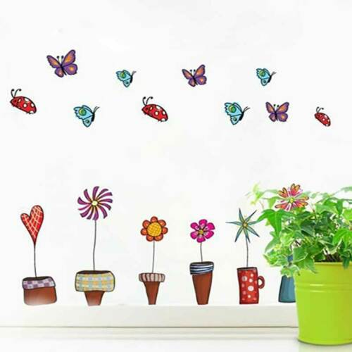 Potted Plant Butterfly Flower Wall Stickers DIY Art Decor Mural Home Room Decal