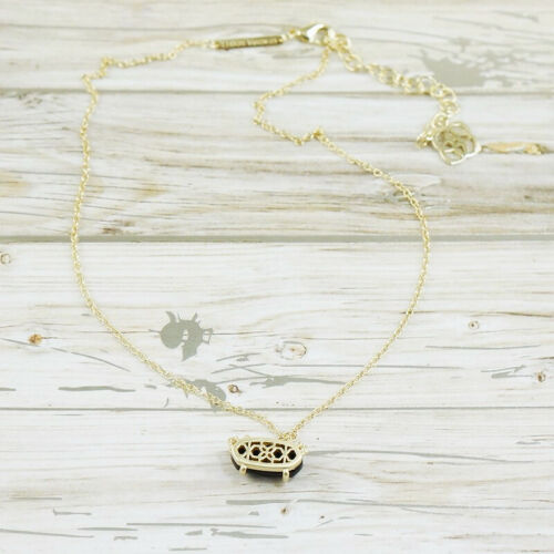 NWOT Kendra Scott Ever Black Pendant Necklace Gold Tone
